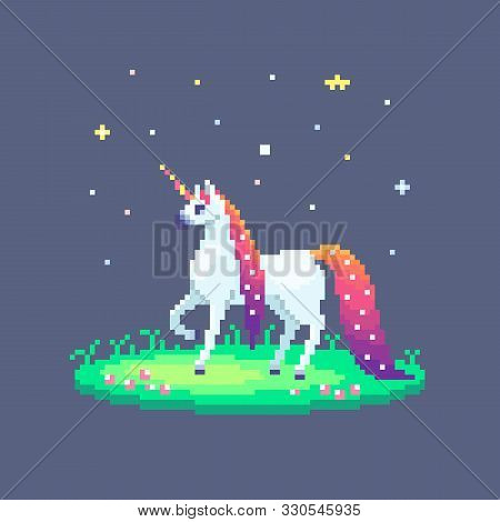 Pixel Art Fairy Unicorn With Starry Mane Stands On Green Meadow. Cute Vector Illustration.