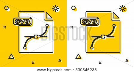 Black Svg File Document. Download Svg Button Icon Isolated On Yellow And White Background. Svg File