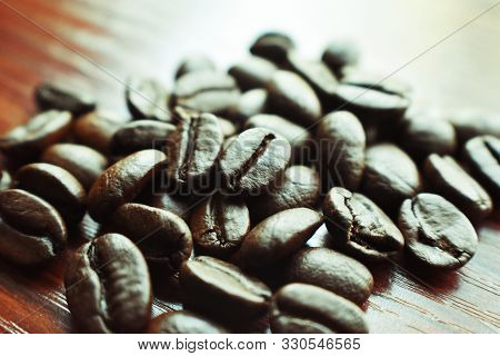 Coffee Beans Close Up With Lomo Effect
