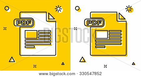 Black Pdf File Document. Download Pdf Button Icon Isolated On Yellow And White Background. Pdf File