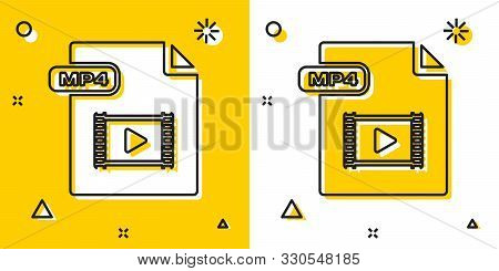 Black Mp4 File Document. Download Mp4 Button Icon Isolated On Yellow And White Background. Mp4 File