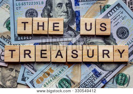 The Words Us Treasury On Dollar Usa Background.