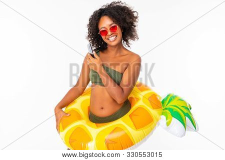 Image Of Happy Young Woman Posing Isolated Over White Wall Background Dressed In Swimwear