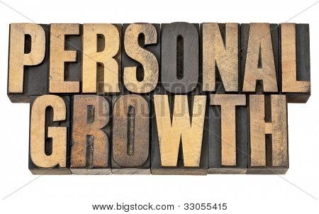 personal growth - self development concept - isolated text in vintage letterpress wood type