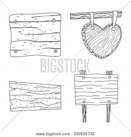 Vector Illustration Of Hardwood And Material Sign. Set Of Hardwood And Wood Stock Symbol For Web.