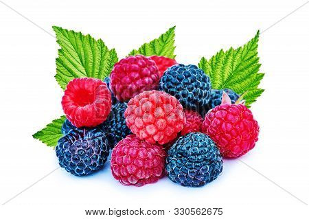 Mix Berries With Leaf. Various Fresh Berries Isolated On White Background. Raspberry, Blackberry.