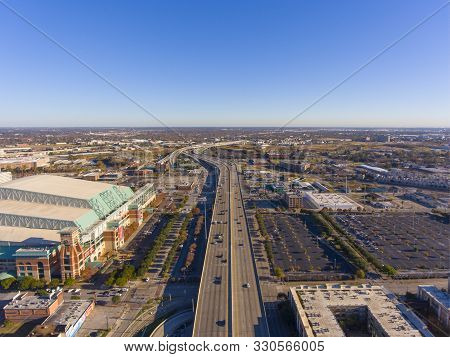 Houston, Usa - Dec. 15, 2018: Minute Maid Park Aerial View Next To Interstate Highway 69 In Downtown