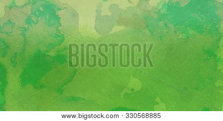 Green Watercolor Background Design With Stains Spatter Drips And Drops In Artsy Design