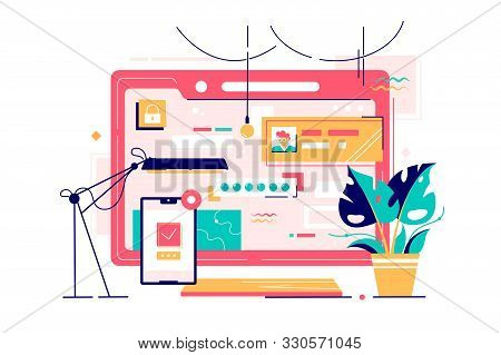 Modern Technology Workspace Of Computer And Smartphone. Isolated Concept Online Web Social Network I