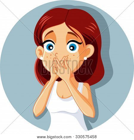 Sick Woman Covering Mouth Vector Cartoon Feeling Nauseated