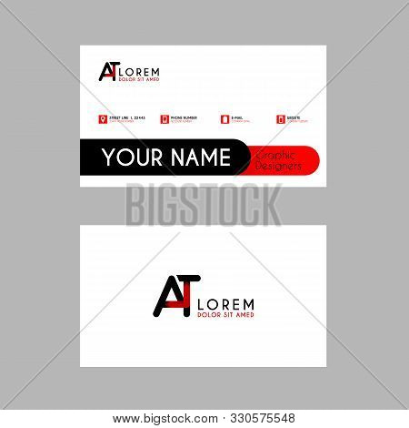 Modern Creative Business Card Template With At Ribbon Letter Logo .ta Logo Can Be Used For Identity