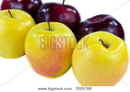 Six Apples Close Up Isolated On White