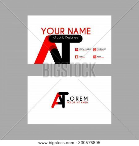 Simple Business Card With Initial Letter At Rounded Edges. Ta Logo Can Be Used For Marketing, Advert