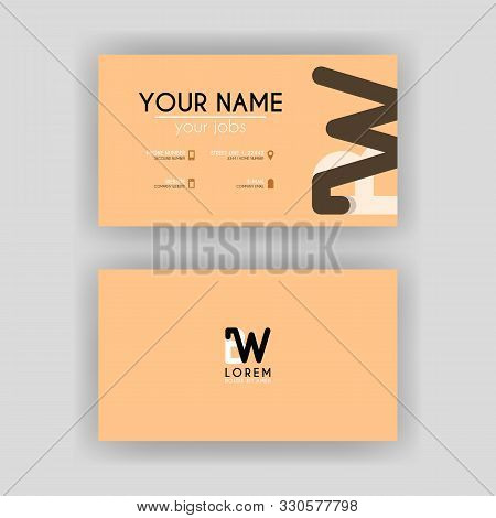 Simple Business Card With Initial Letter Bw Rounded Edges. Wb Logo Can Be Used For Marketing, Advert