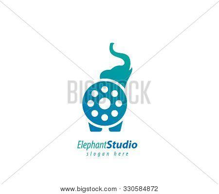 Elephant Cinema Design Logo- White Background Illustartion Design