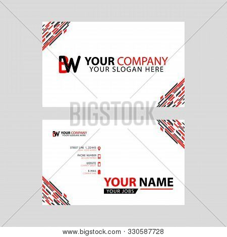 Horizontal Name Card With Bw Logo Letter And Simple Red Black, Edge Decoration .wb Logo Can Be Used