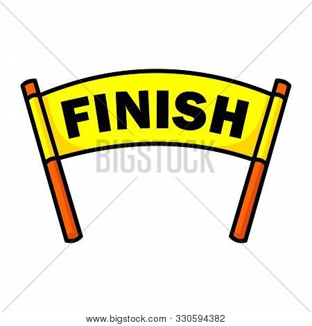 Finish Line With Red Textile Banner And Ribbon Vector Illustration Isolated On White Background. Fin