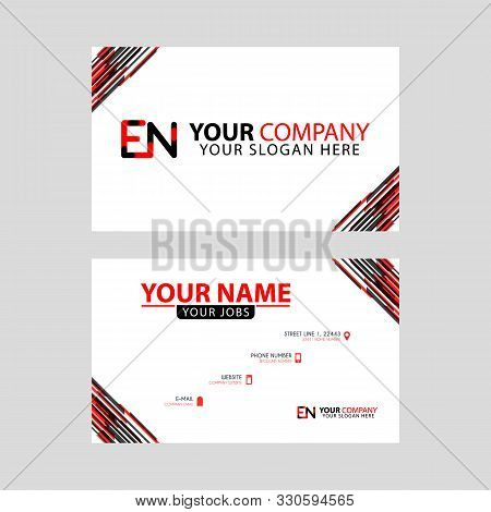 Letter En Logo In Black Which Is Included In A Name Card Or Simple Business Card With A Horizontal T