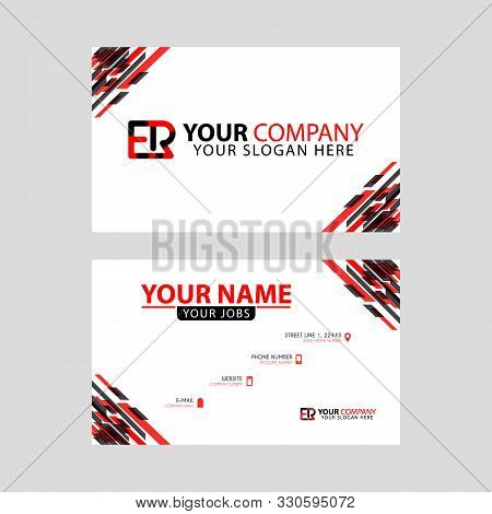 Letter Er Logo In Black Which Is Included In A Name Card Or Simple Business Card With A Horizontal T
