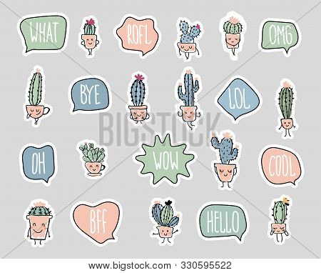 A Set Of Stickers In Nice Retro Colors. Cacti And Words In The Bubbles. Elements For Mexican Design,