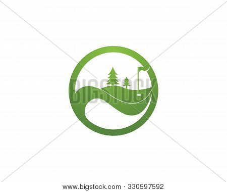 Golf Field Icon Logo Vector Template Illustration