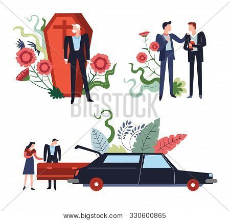 Interment Or Funeral Isolated Icons, Coffin And Hearse, Ashes Urn