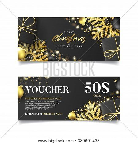 Gift Voucher For Christmas Sale. Vector Illustration With Realistic Black Gift Boxes, Garlands, Chri