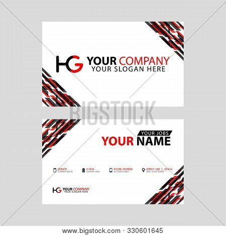 Logo Hg Design With A Black And Red Business Card With Horizontal And Modern Design.