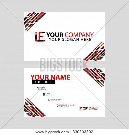 Horizontal Name Card With Decorative Accents On The Edge And Bonus Ie Logo In Black And Red. Ei Logo