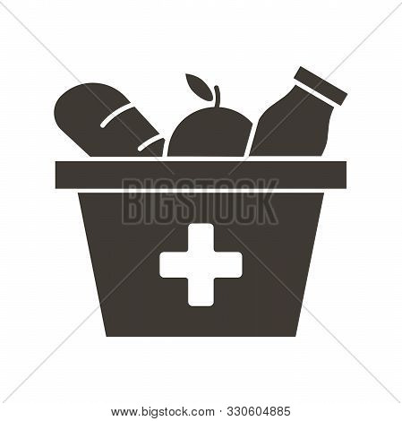 Food Box With A Red Cross Icon. Vector Flat Glyph Illustration. Grocery Provisions Donation. Helping