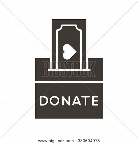 Donation Box With A Generous Offer. Cash Bill With An Heart, Kind Money. Vector Flat Glyph Icon Illu