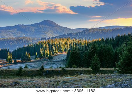 Beautiful Mountain Landscape At Sunrise In Autumn. Coniferous Forest On The Hills. Frosty And Sunny