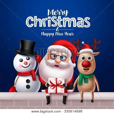 Christmas Santa Claus Characters Greeting Card Design. Santa Claus, Reindeer And Snowman Vector Char