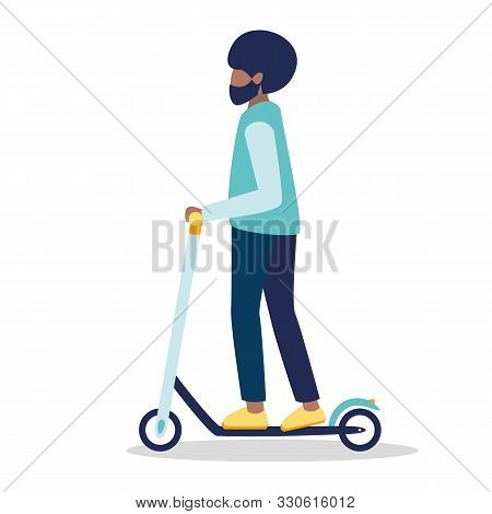 African American Young Boy With Beard  Rides On A Black And White Electric Scooter. A Man Riding A K