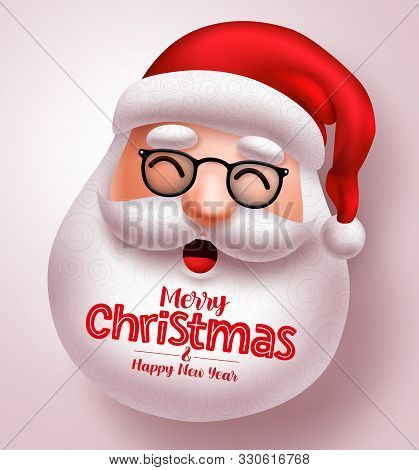 Christmas Santa Claus Vector Design. Santa Claus Happy Face With Long Beard And Merry Christmas Gree
