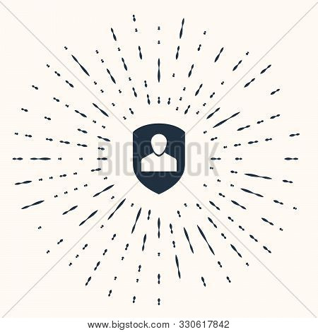 poster of Grey User protection icon isolated on beige background. Secure user login, password protected, personal data protection, authentication icon. Abstract circle random dots. Vector Illustration