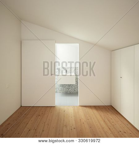 Front view of the room with an open door to the private bathroom. White walls. None inside
