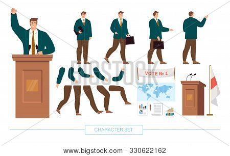 Politician, Statesman Character Constructor Trendy Flat Design Elements Set. President Elections Can