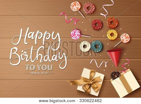Happy Birthday Greeting Card Vector Background Concept. Happy Birthday Text In Empty Space For Messa