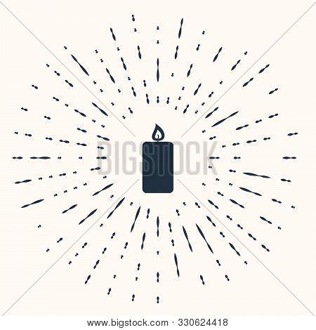 Grey Burning Candle Icon Isolated On Beige Background. Old Fashioned Lit Candle. Cylindrical Aromati