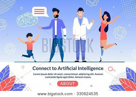 Future Limbs Prostheses Controlled By Artificial Intelligence Trendy Flat Vector Web Banner, Landing