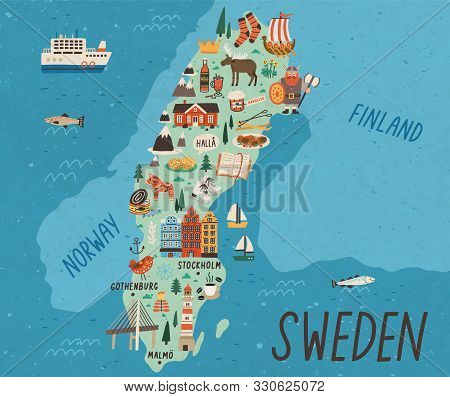 Cultural Map Of Sweden Flat Vector Illustration. European Country Traditional Landmarks And Tourist