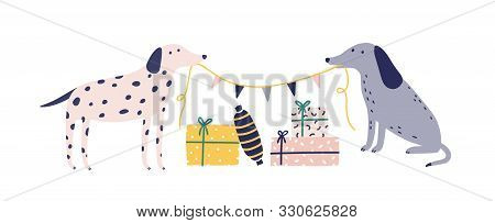 Funny Dogs With Christmas Gift Boxes Flat Vector Illustration. Cute Animals And Presents Isolated On
