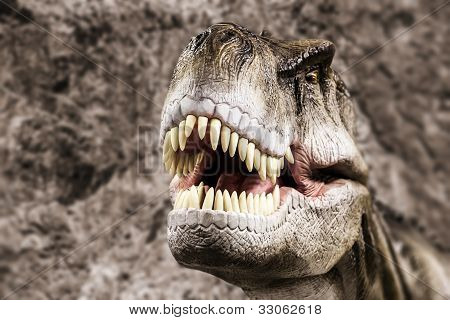 Tyrannosaurus - prehistoric era dinosaur showing his toothy mouth poster