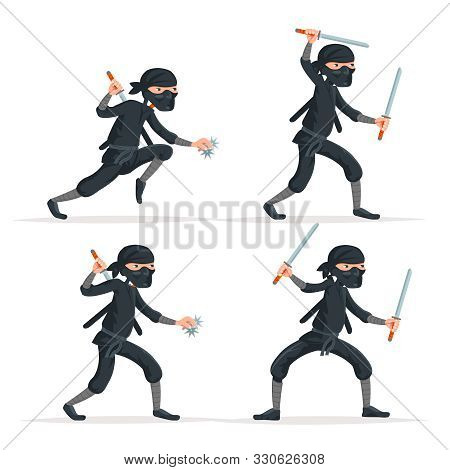 Ninja Japanese Secret Assassin Sword Character Set Cartoon Stealthy Sneaking Isolated On White Vecto