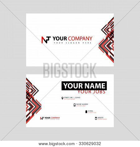 Business Card Template In Black And Red. With A Flat And Horizontal Design Plus The Nt Logo Letter O