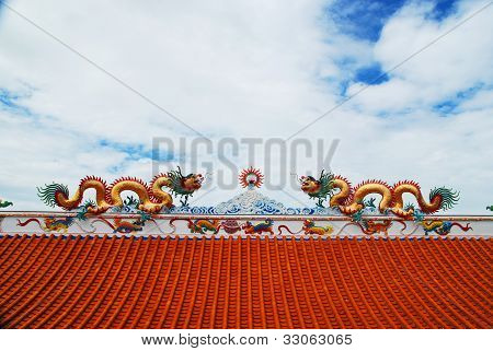 The Dragon Statues On Roof