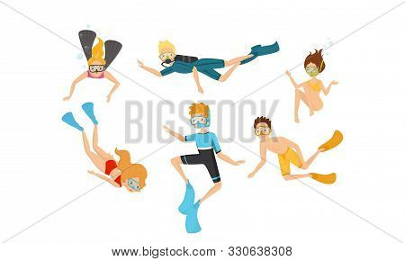 People Characters Diving Vector Illustration Set. Deep Plunging Concept