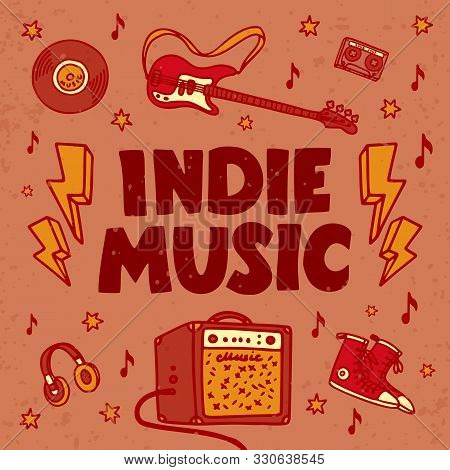 Indie Music Festival Poster Or Flyer Template. Illustration Of Music Related Objects Such As Guitar,