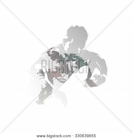 Rugby Players, Isolated Double Exposure Vector Illustration. Group Of Rugby Players, Multiexposure